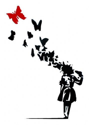 BANKSY - Butterfly brains girl red canvas print - self adhesive poster - photo print